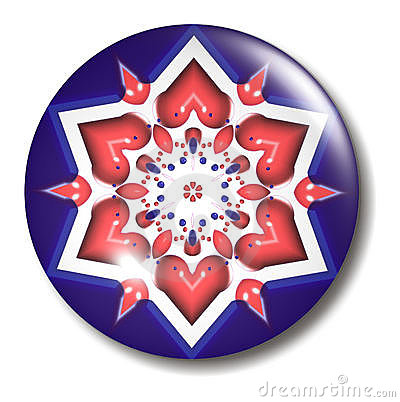 Red White Blue Star Button Orb