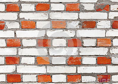 Red and white brick wall pattern texture