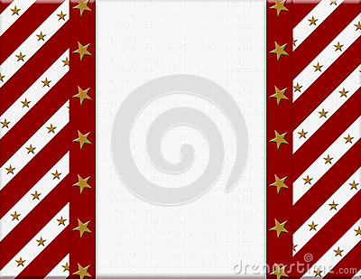 Red and White celebration frame with stars