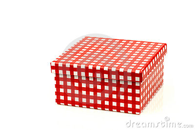 Red and white checkered gift box