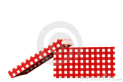 Red and white checkered gift box