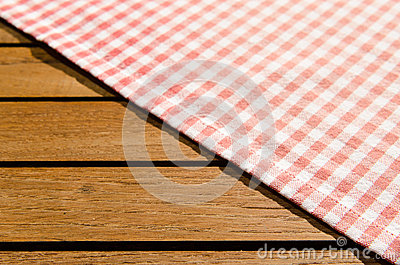 Red white checkered table cloth