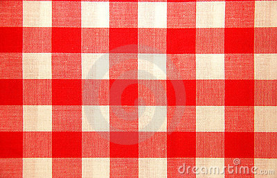 Red and white chequered tablecloth