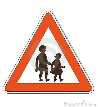 Red white children warning sign