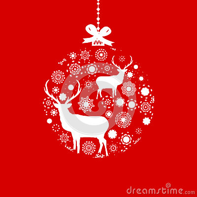 Red and White Christmas ball. EPS 8