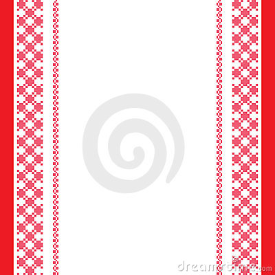 Red-white embroidered background