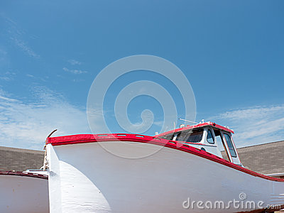 Red and White fishing boat
