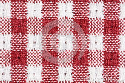 Red and White Gingham Checkered Macro Background