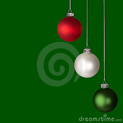 Red, White and Green Christmas Ornaments Isolated