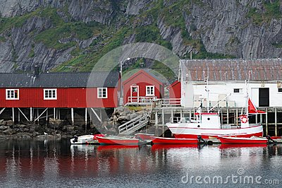 Red and white houses
