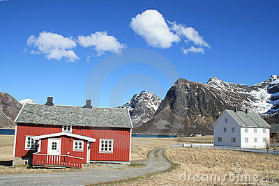Red and white houses of  Flakstad
