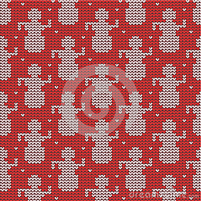 Red and white knitted snowmen background