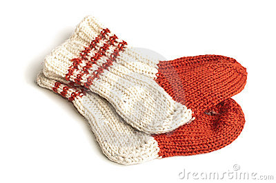 Red and white knitted socks