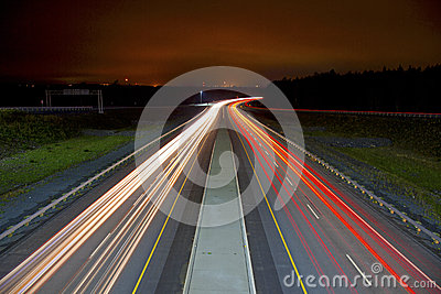 Light Streaks on Highway