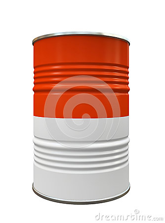 Red and White Metal barrel