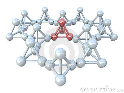 Red and white molecular structures
