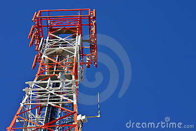 Red and white phone tower