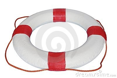 Red and white rescue wheel