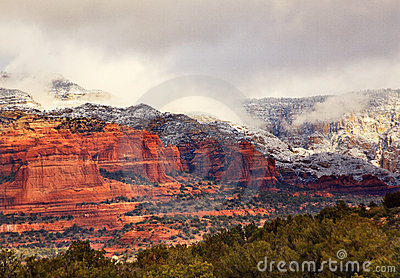 Red White Rock Canyon Snow Clouds Sedona Arizona
