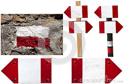 Red and white signposts