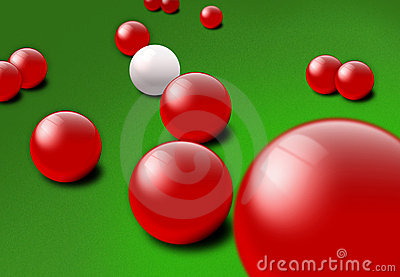 Red and white Snooker balls