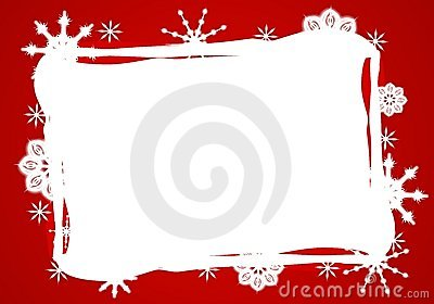 Red White Snowflake Border