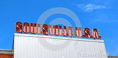 Red and White Soulsville U.S.A. Sign at Stax Records Museum Editorial Photography