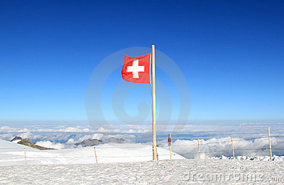 Red-white Swiss flag marks the Jungfraujoch