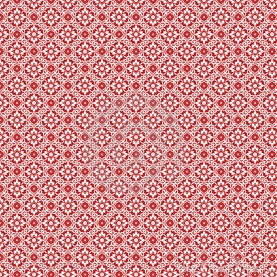 Red and white vintage damask repeat pattern