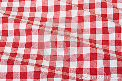 Red and white wavy tablecloth