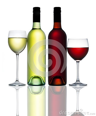 Red White Wine Bottle Glass