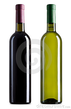 Red and white wine bottles