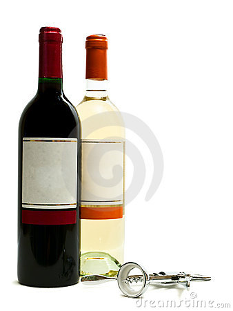 Red and white wine bottles with corkscrew