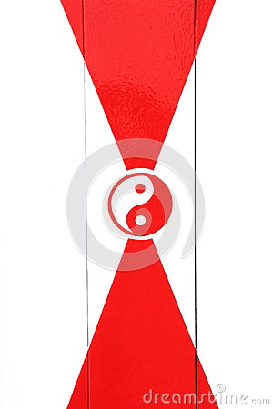 Red and white Yin Yang sign