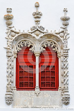 Red windows with ornamental stonework