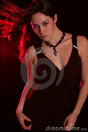 Red windy brunette