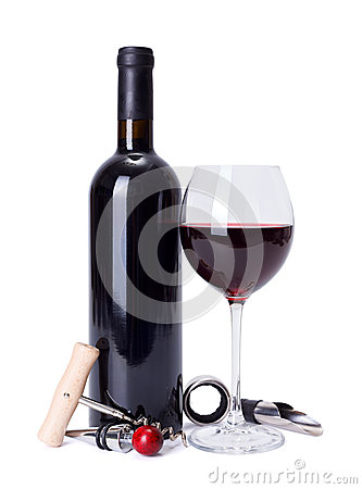 Free Red Wine And Tools Stock Photo - 34688180