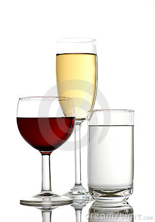 Free Red Wine, Apple Juice And Mineral Water Royalty Free Stock Photo - 8950535