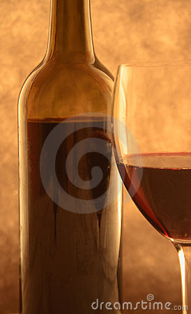 Red wine in back-light