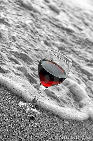 Red wine at beach