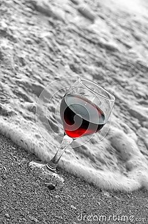 Red wine at beach
