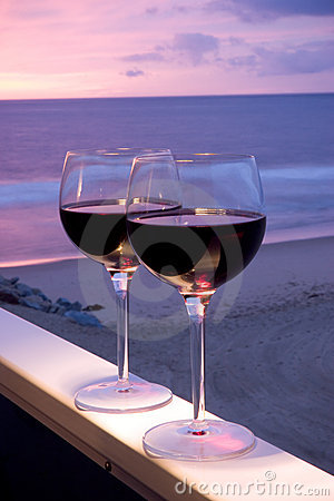 Free Red Wine Beach Sunset Stock Photography - 473002