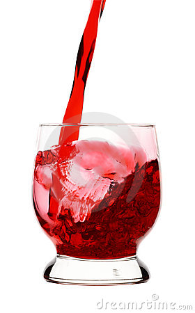 Red wine is being poured into glass,