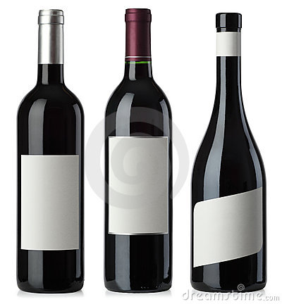 Free Red Wine Blank Bottles With Labels Royalty Free Stock Image - 18733086