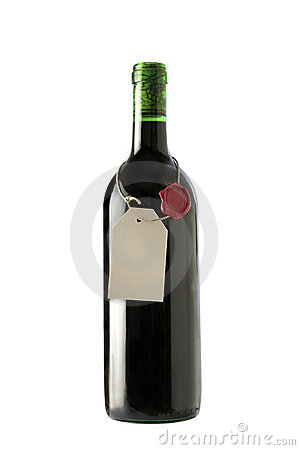 Red wine bottle with blank label