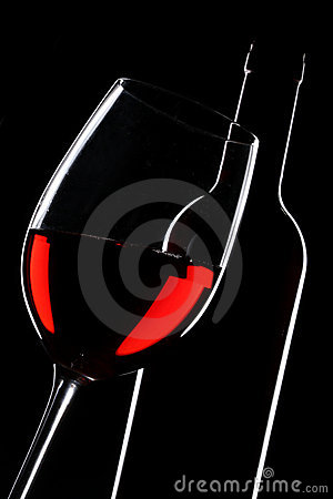 Red wine bottle and glass silhouette