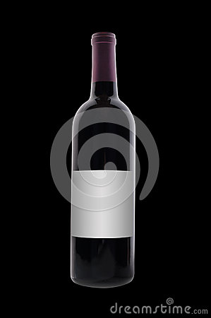 Red wine bottle, isolated