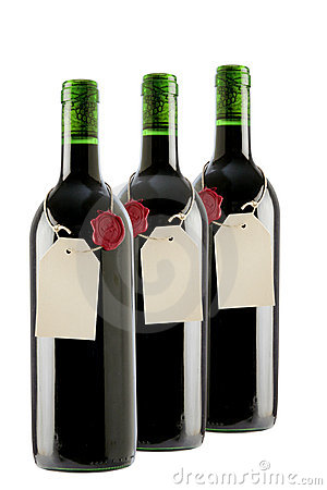 Red wine bottles with blank label