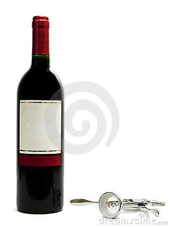Red wine bottles with corkscrew