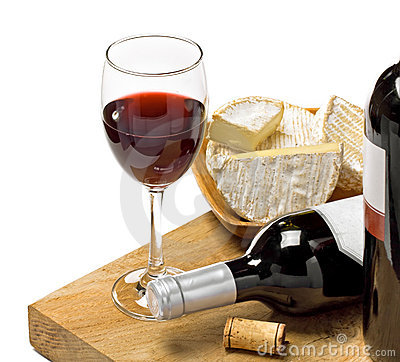 Free Red Wine, Brie And Camembert Cheeses Stock Photography - 23294132